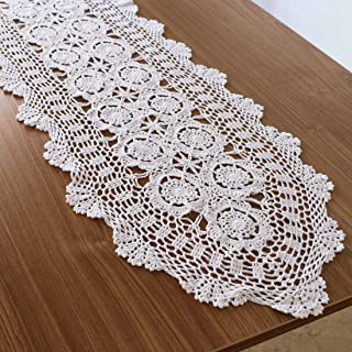 kilofly–Juego de hecho a mano Crochet encaje de algodón Camino de mesa mantel, algodón, Blanco, 15.7 x 43.3 inch