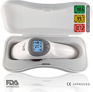 Baby Thermometer - Non-Contact Forehead Infrared Digital Thermometer + Plastic Case by Zoe+Ruth. Accurate Professional Medical Fever Alert System with Instant Results. Best for Baby,  Toddlers & Adults
