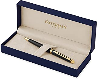 Waterman Hémisphère Ballpoint Pen, Gloss Black with 23k Gold Trim, Medium Point with Blue Ink Cartridge, Gift Box