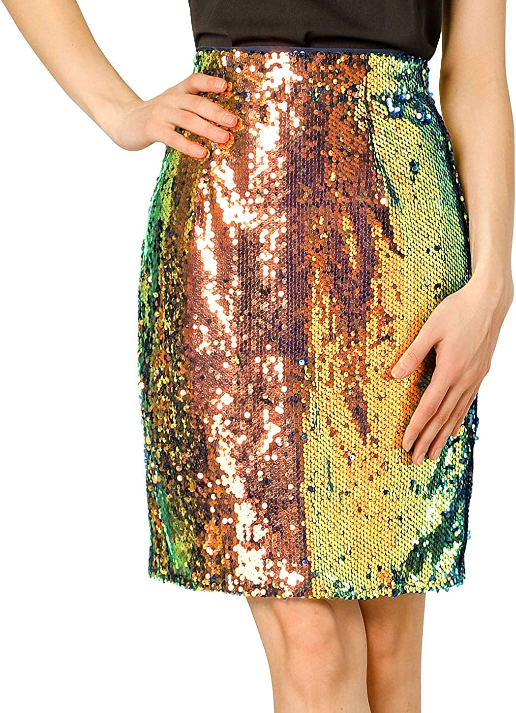 Allegra K Women's Elegant Above Knee High Waist Party Sequin Sparkle Skirts