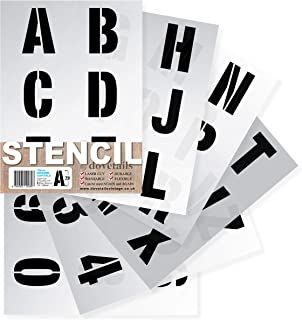 Dovetails Letter Stencils Alphabet/Numbers 2.75 inch (7cm) Tall Large Modern Capitals on 6 Sheets of 11.5 x 8