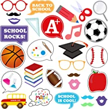 Back to School Photo Booth Props Kit - First Day of School Decorations Party Supplies Favors   Welcome Back Party Classroom Decorations   Fun Posing Props Signs for Selfie, Teacher Student Photobooth