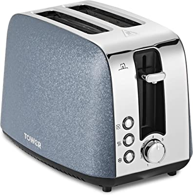 Tower T20052BLU 2 Slice Toaster, Ice Diamond Collection with Reflective Diamond Effect, Defrost/Reheat/Cancel Functions, 850 W, Steel, Blue