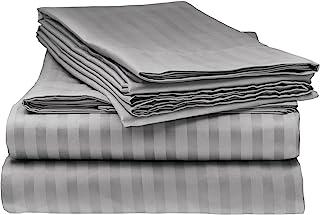 Italian Striped 4PC Queen Sheet Set, Grey