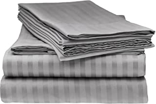 Italian Striped 4PC Queen Sheet Set, Grey