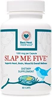 Slap Me Five Methylfolate, 1190 mcg DFE (1000 mcg) L-Methylfolate per Serving, 60 Capsules, Boosts Stamina, Memory and Mood, Best Nest Wellness