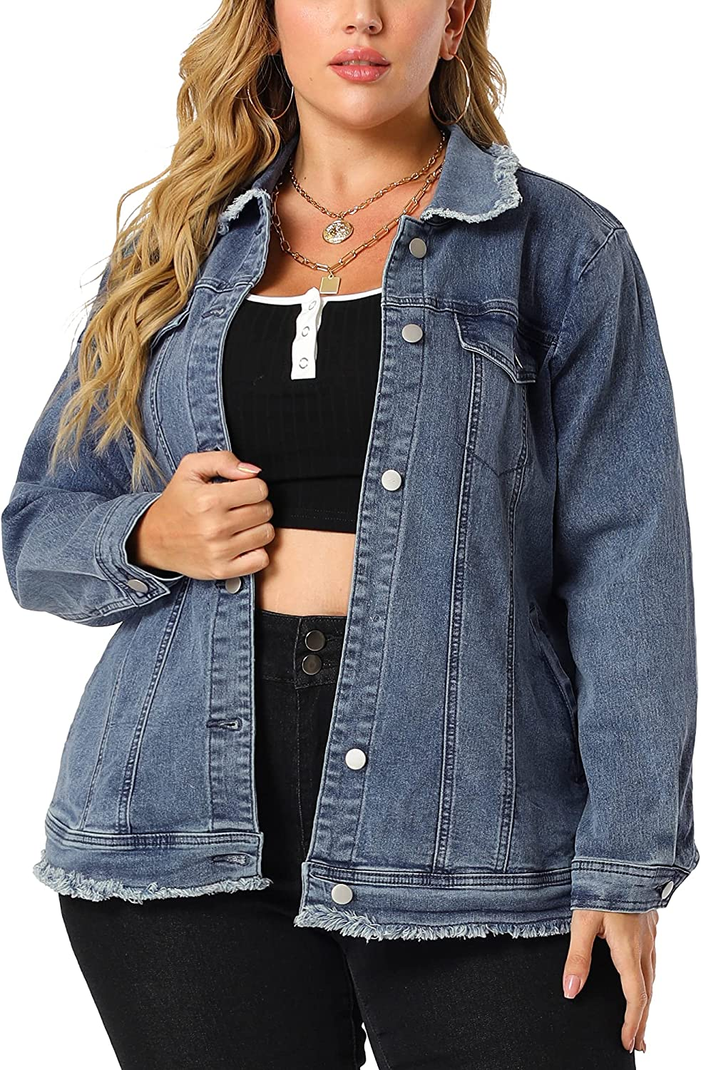 Agnes Orinda Plus Size Jeans Jackets for Women Raw Hem Frayed Collar Washed Distressed Jean Jackets with Pockets
