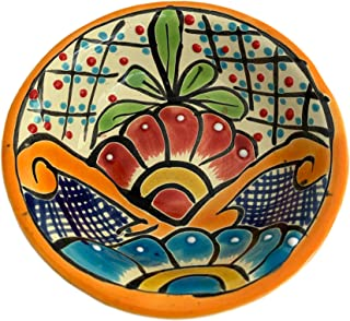 Colorful Decorative Mexican Style Fiesta Bowl - Hand-Made and Hand Painted In Mexico - 5i Inches - Tazon Mexicano