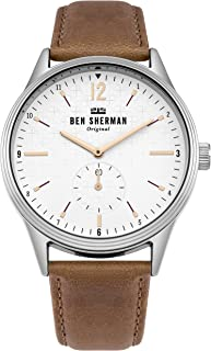 Men's 'Spitalfields Vinyl Geo' Quartz Silver-Tone and Leather Casual Watch, Color:Brown (Model: WB015T)