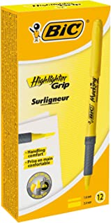 BIC Brite Liner Grip Highlighter Pens - Yellow Colour, Box of 12 Highlighters