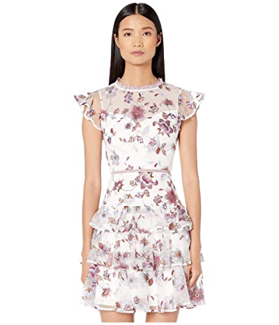 ML Monique Lhuillier Embroidered Mesh Tiered Dress with Ruffled Sleeves (White Multi) Women