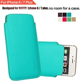"""Modos Logicos Synthetic Leather Protective Sleeve Pouch Case Compatible with iPhone 8 Plus iPhone 7 Plus iPhone 6 Plus 5.5"""", Professional Executive Case Design with Elastic Pull Strap - Teal"""