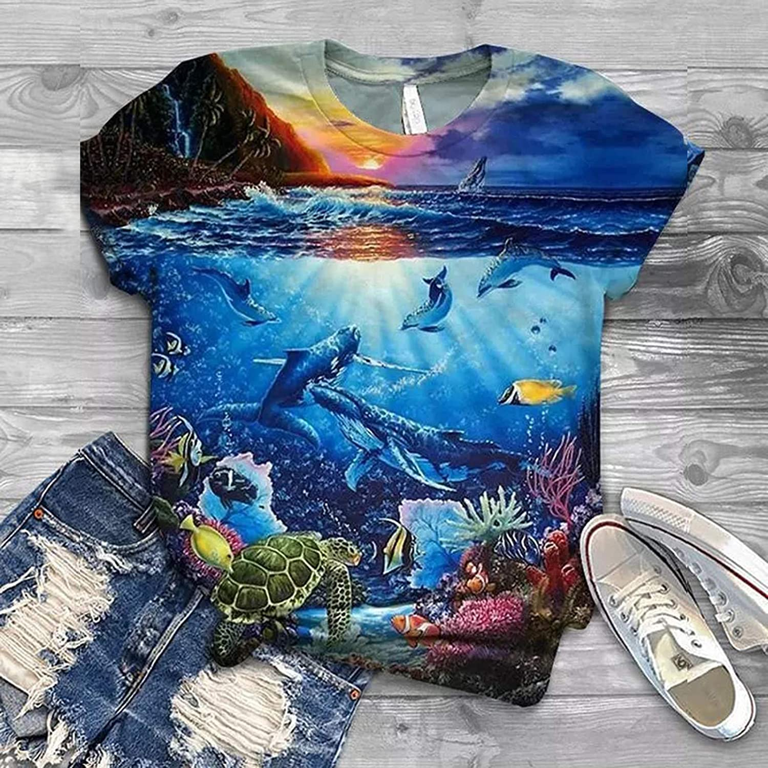 Crewneck Short Sleeve Shirts for Women Hotkey Womens Summer Tops Starry Sky Ocean Dolphin Printed T Shirts Tees Blouse
