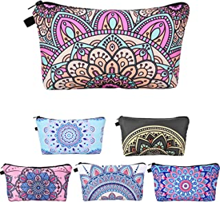 6 Pieces Makeup Bag Toiletry Pouch Waterproof Cosmetic Bag with Mandala Flowers Patterns, 6 Styles (Style 2)