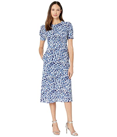 Vince Camuto Printed Scuba Crepe Fit-and-Flare Dress w/ Novelty Sleeve (Blue Multi) Women