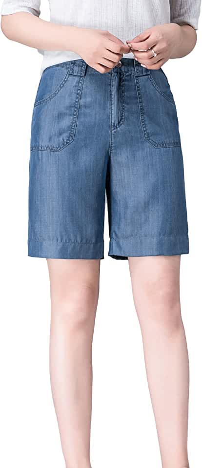 Womens High Rise Tencel Wide Leg Denim Shorts Relaxed-Fit Bermuda Jeans Short