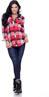 Womens Long-Sleeve Plaid Flannel Button Down Shirt