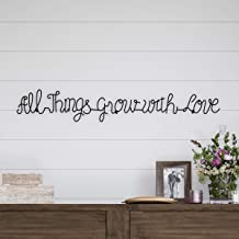 Lavish Home Metal Cutout-All Things Grow with Love Cursive Sign-3D Word Art Home Accent Decor-Perfect for Modern Rustic or Vintage Farmhouse Style