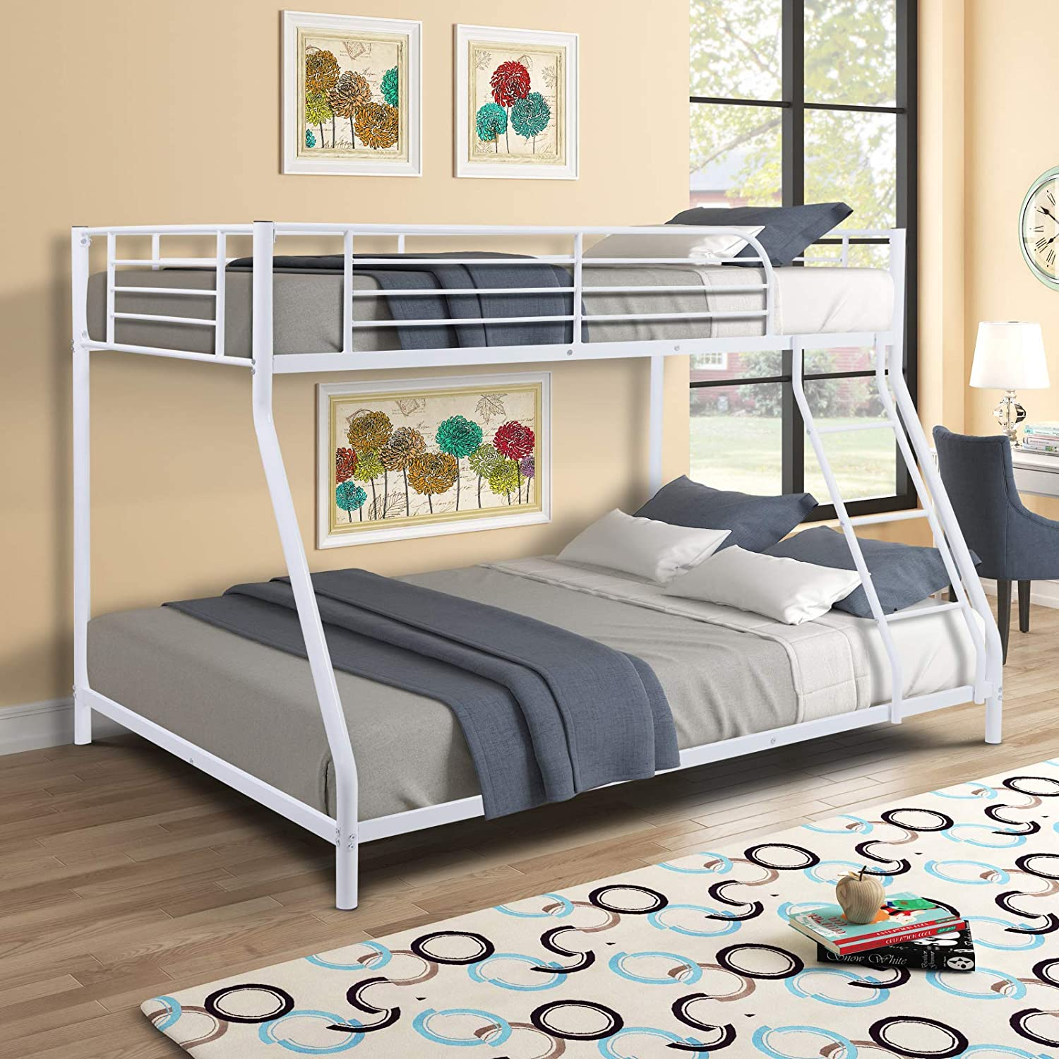 V-HOME Heavy-Duty Metal Bunk Bed 2- with Over Full Twin Rapid OFFer rise