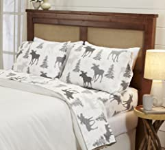 Great Bay Home 4-Piece Lodge Printed Ultra-Soft Microfiber Sheet Set. Beautiful Patterns Drawn from Nature, Comfortable, All-Season Bed Sheets. (Full, Moose)