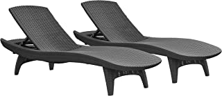 Keter Pacific 2-Pack All-weather Adjustable Outdoor Patio Chaise Lounge Furniture, Graphite