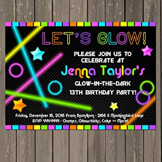 Glow in the Dark Themed Birthday Party Invitation, Neon Party Invitation, Set of 10 5x7 inch invitations with white envelopes