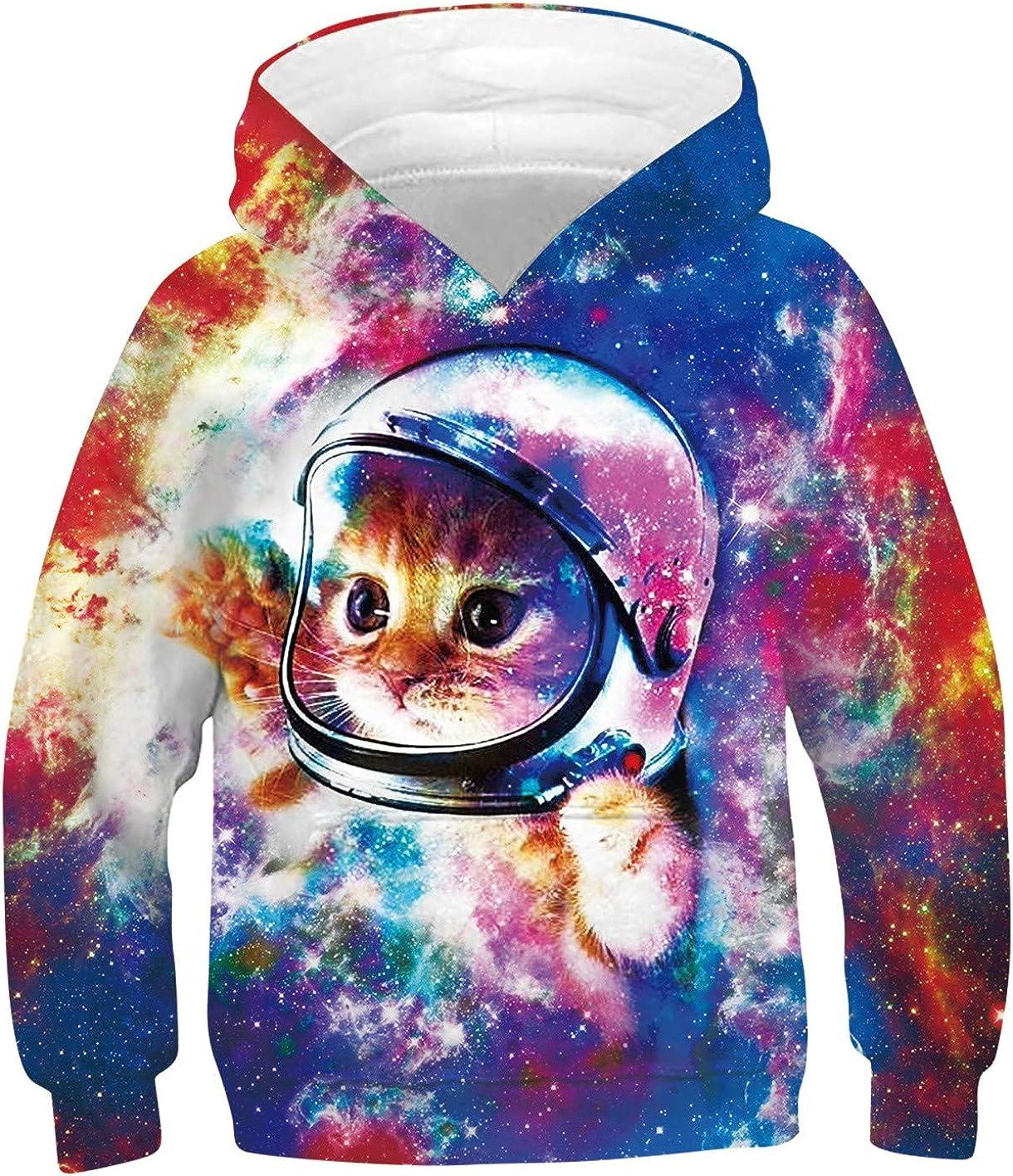 TUONROAD Kids Boys Girls Graphic Hoodies Shark Cat Pullover Sweatshirt Spring Fall Sweater Hoodie 6-16 Years