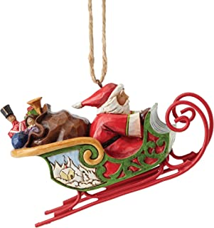 Jim Shore Heartwood Creek Santa in Sleigh Ornament, 2.5""
