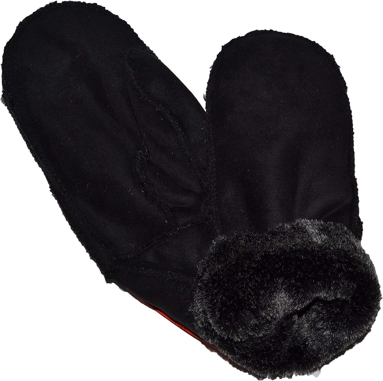 OPT Brand. Men Size Warm Mittens Snow Ski Snowboard Gloves With Fur Lining (Black)