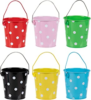 Colored Mini Metal Buckets - 6-Pack Colorful Tin Pails with Handles, Polka Dot Design on Assorted Colors, Small-Sized for The Beach, Party Favors, Easter, Candy, or Garden