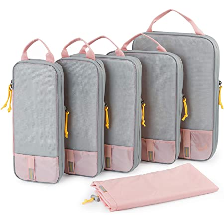 Packing Cubes, BAGSMART 6 Set Packing Organizers for Travel, Expandable Luggage Organizer for Carry on Luggage, Compression and Lightweight Suitcase Organizers for Woman & Man, Pink