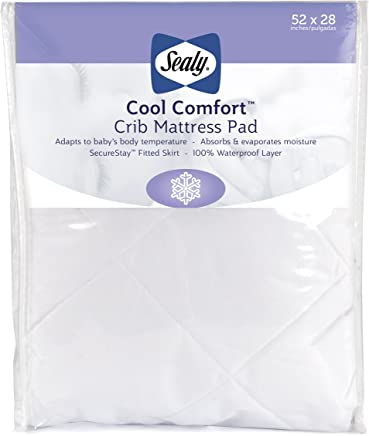 "Sealy Cool Comfort Fitted Hypoallergenic Toddler & Baby Crib Mattress Pad/Protector - 100% Waterproof Layer, White, 52"" x 28"""