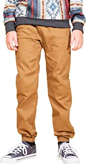 Brooklyn Athletics Boys' Big Twill Jogger Pants Soft Stretch Slim Fit Trousers