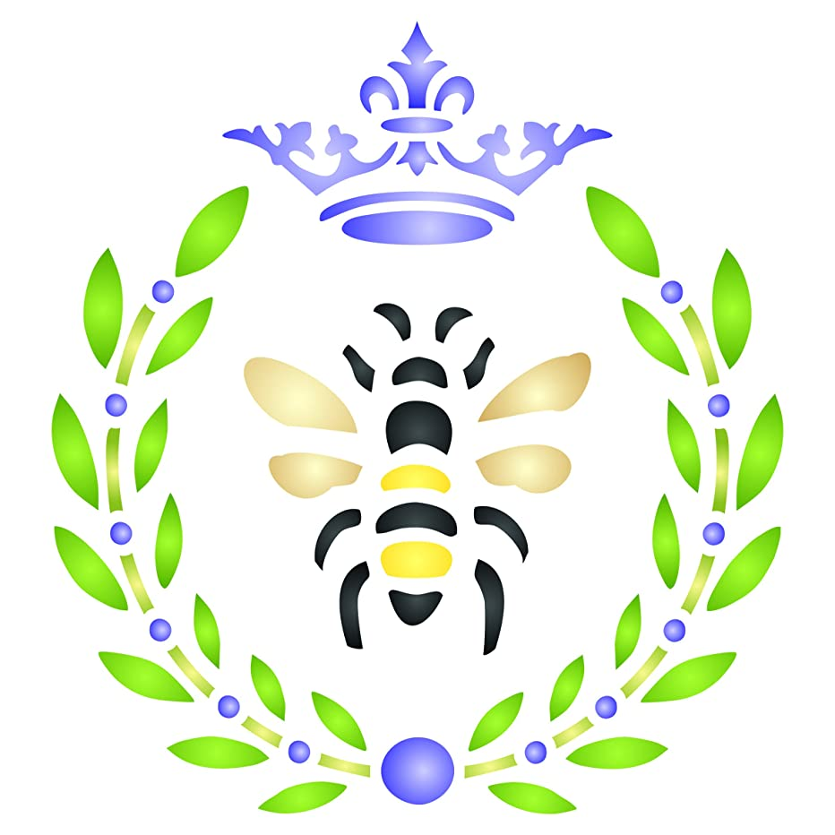 French Bee Stencil - 8 x 8.5 inch (L) - Reusable Crown Laurel Wreath French Country Bee Wall Stencil Template - Use on Paper Projects Scrapbook Journal Walls Floors Fabric Furniture Glass Wood etc.