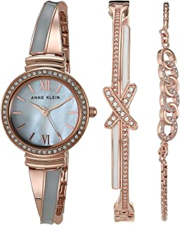 Anne Klein Women's Swarovski Crystal Accented Bangle Watch and Bracelet Set, AK/3572