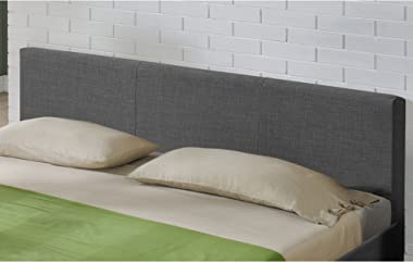 Corium Lit Double Rembourré Design Sommier à Lattes Matelas Mousse à Froid Polyester 140 x 200 cm Gris Foncé