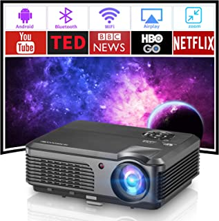 Smart Video Projector with Bluetooth, Wireless WiFi Home Projector Support Full HD 1080p Zoom HDMI USB, LED LCD Projector ...