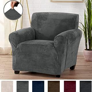 Modern Velvet Plush Arm Chair Slipcover. Strapless Chair Cover, Stretch Slipcover for Arm Chairs, Soft Chair Cover for Living Room. (Chair, Wild Dove Grey)