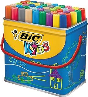 BIC Kids Ecriture Visacolor XL Feutres de Coloriage à Pointe Large Et Résistante - Couleurs Assorties, Pot de 48