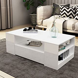 Coffee Table High Gloss 2 Drawers Storage Shelf Wood White Living Room 120CM