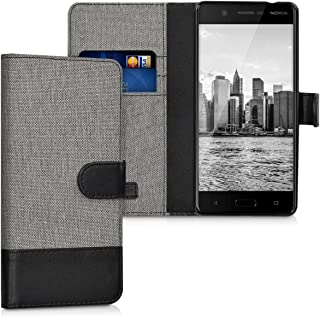 kwmobile Wallet Case for Nokia 5 - Fabric and PU Leather Flip Cover with Card Slots and Stand - Grey/Black