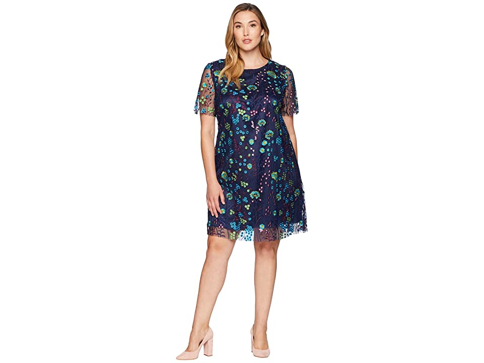 Tahari by ASL Plus Size Short Sleeve Printed Mesh Embroidery Shift (Navy/Teal/Prune) Women