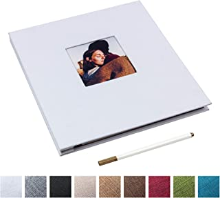 Self Adhesive Photo Album Magnetic Scrapbook Album 40 Magnetic Double Sided Pages Linen Hardcover DIY Photo Album Length 11 x Width 10.6 (Inches) with A Metallic Marker Pen (White)