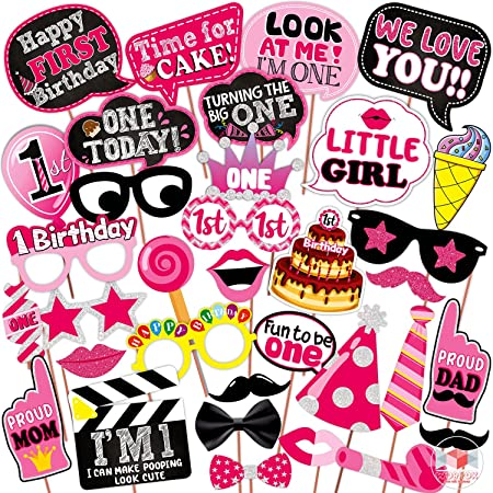 WOBBOX First Birthday Photo Booth Party Props Pink for Baby Girl , 1st Birthday Decorations for Girl , Kids Birthday Party Decoration Items