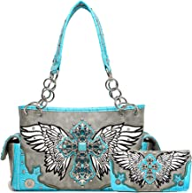 Western Style Cross Studded Wings Concealed Carry Purse Women Country Handbag Shoulder Bag Wallet Set
