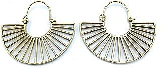 Lightweight Fan Shaped Art Deco Double Sided Modern Minimal Boho Hinge Drop Earrings for Women, Gold