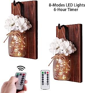 CALATOUR Mason Jar Decor Wall Sconce,16OZ Mason Jars,20 LED Lights with Remote Control,Wrought Iron Hooks,Wood Boards,Silk Flowers(Set of 2)