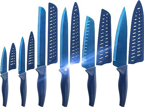discount Blue Professional Kitchen Knife Chef Set, Kitchen Knife outlet online sale Set lowest Stainless Steel, Kitchen Knife Set Dishwasher Safe with Sheathes outlet sale