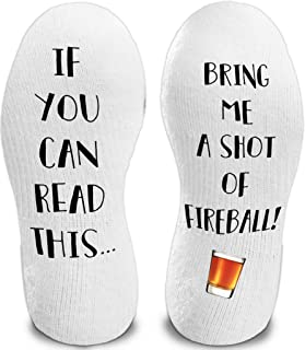 If You Can Read This Bring me A Shot of Fireball Funny Novelty Funky Crew Socks Men Women Christmas Gifts Slipper Socks