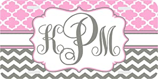 Clover Chevron Pink Gray Personalized Monogrammed License Plate Monogram Car Tag